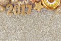 New Years Eve 2017 border over a glittery background Royalty Free Stock Photo
