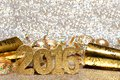 New Years Eve 2016 decorations with twinkling light background Royalty Free Stock Photo
