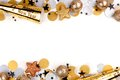New Years Eve double border of confetti and decor over white Royalty Free Stock Photo