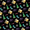 New years eve pattern on black Royalty Free Stock Photo