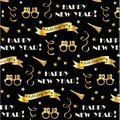 New years eve 2019 pattern with gold banners, glasses, stars and confetti streamers