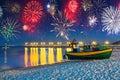 New Years firework display at Baltic Sea Royalty Free Stock Photo