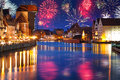 New years firework display in gdansk poland Stock Photo