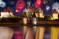 New years firework display in malbork poland Stock Photos