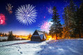 New Years firework display in Tatra mountains Royalty Free Stock Photo