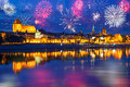 New years firework display in torun poland Stock Photo