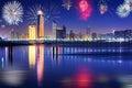 New Years fireworks display in Abu Dhabi Royalty Free Stock Photo