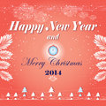 New years greeting card with graphics a red background snow and trees Royalty Free Stock Images