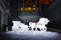 New years horse sledge lighting decoration in a castle Stock Image