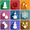New years icons set of of different color Royalty Free Stock Images
