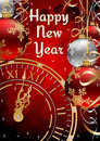 New Years Postcard with Clock Face, Ribbons and Ba Royalty Free Stock Image