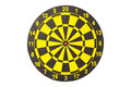 New yellow and black dart board. Isolated on white. Royalty Free Stock Photo
