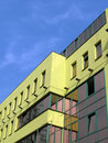 New yellow building on blue sky, construction Royalty Free Stock Photography