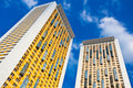 New yellow dwelling towers with balconies Stock Photography