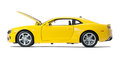 New yellow model sports car Royalty Free Stock Photo