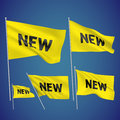 New yellow vector flags a set of wavy d created using gradient meshes eps Royalty Free Stock Images