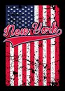 New york american flag distressed poster colorful graphic tee vector