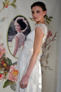 New york april a model poses for claire pettibone bridal presentation at pier during international fashion week on in Stock Photos