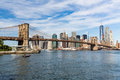 New york august views of the brooklyn bridge on a summer d day its famous and iconic in which passes Stock Photography