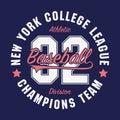 New York, Baseball typography for number t-shirt. Original sportswear print. Athletic apparel typography. Vector illustration.