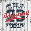 New York, basketball sportswear emblem. Basketball apparel design with lettering. T-shirt graphics
