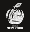New York big apple t-shirt graphic design with city map. Royalty Free Stock Photo