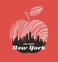 New York big apple t-shirt graphic design with city skyline. Royalty Free Stock Photo