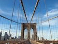 United States America New York USA Brooklyn Bridge Flag Pedestrian walk Royalty Free Stock Photo