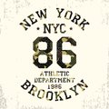 New York, Brooklyn - camouflage grunge typography for design clothes, athletic t-shirt. Graphics for number apparel. Vector.