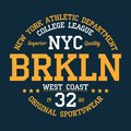 New York, Brooklyn - typography for design clothes, athletic t-shirt. Graphics for print product, apparel. Vector.