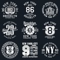 New York, Brooklyn typography. Set of athletic print for t-shirt design. Graphics for sport apparel. Collection of tee shirt badge