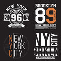 New York, Brooklyn typography for t-shirt print. Sports, athletic t-shirt graphics set. Badge collection