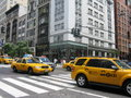 New york cabs group of yellow in city Royalty Free Stock Photos