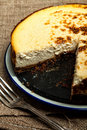New york cheesecake homemade with a slice missing Royalty Free Stock Image