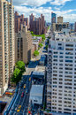 New york city aerial view of the nd avenue upper east side manhattan Stock Photos