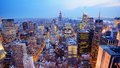 New york city aerial view panorama of in midtown manhattan low color saturation Stock Photography