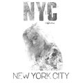 New York city art. Street graphic style NYC with a girl portrait. Fashion stylish print. Template apparel, label, poster, banner. Royalty Free Stock Photo