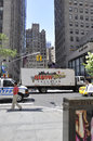 New York City,August 2nd:Showbiz Truck on traffic from Manhattan in New York City Royalty Free Stock Photo