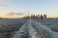 New York City,August 3rd:Manhattan Panorama from Hudson river at sunset in New York City Royalty Free Stock Photo