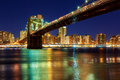 New York City - beautiful sunset over manhattan with and brooklyn bridge Royalty Free Stock Photo