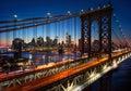 New York City - beautiful sunset over manhattan with manhattan a Royalty Free Stock Photo