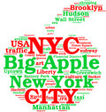 New York city, the big apple tag cloud Royalty Free Stock Photos