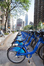 New york city bikes aug row of citi bike bicycles in midtown manhattan on aug this bicycle sharing system serving is the Stock Photos