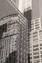 New york city building reflection in glass Royalty Free Stock Images