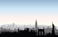 New York City buildings silhouette. American urban landscape. Ne