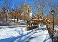 New York City Central Park alley in winter. NYC. Royalty Free Stock Photo