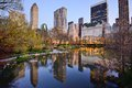 New york city central park lake south skyline from in Stock Images