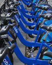 New york city citibikes stand of s an initiative of mayor michael blomberg Royalty Free Stock Image