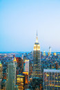 New york city cityscape in the night birds eye view Royalty Free Stock Images