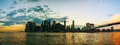 New york city cityscape panorama at sunset Stock Photos